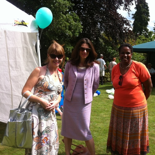 3 staff members at outdoor fundraising event