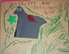 Drawing by a child with the words My Private Box Jennifer's Box