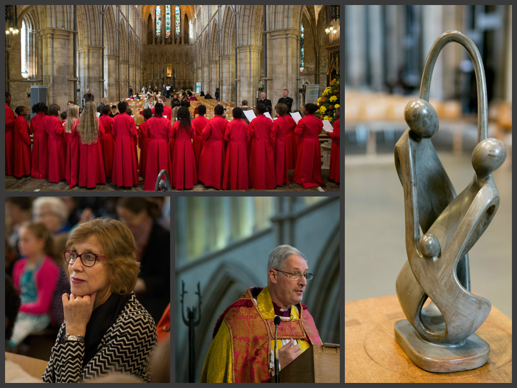 Collage of 4 photos from 120th anniversary which includes, Bishop, congregation, choir and Welcare charge