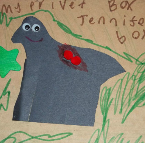 Children's drawing with the words My Private Box by Jennifer