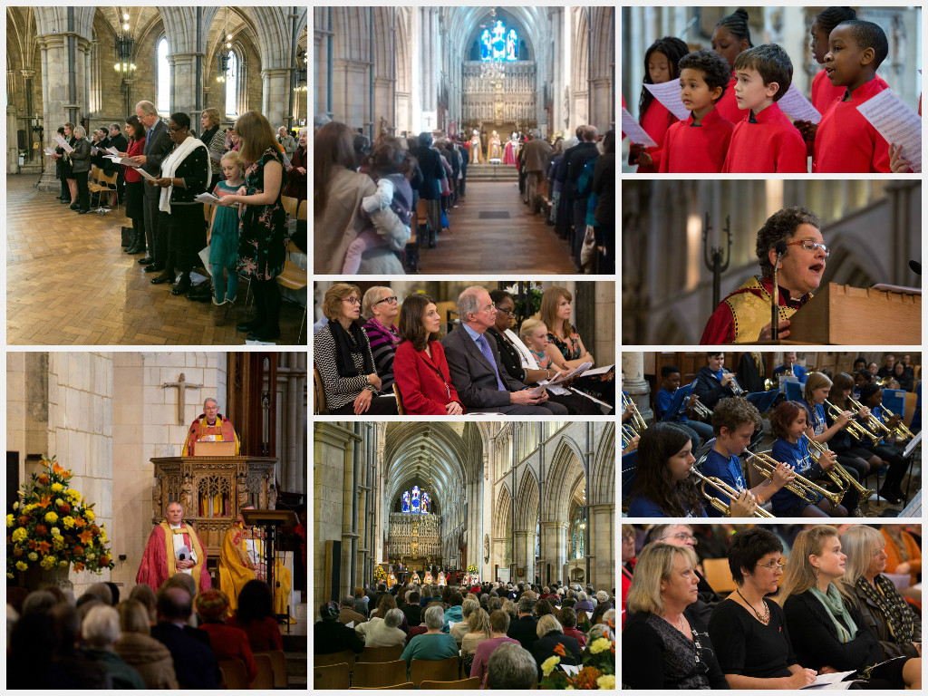 Collage of 9 photos which consist of choir, congregation, brass band and bishops