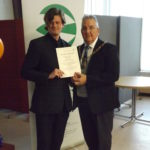 Paul Vitty receiving award from mayor of bromley