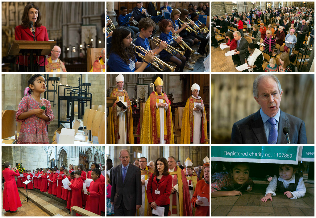 Collage of 9 photos from 120th Service including Bishops, choir, brass band, Welcare CEO and Welcare Chair