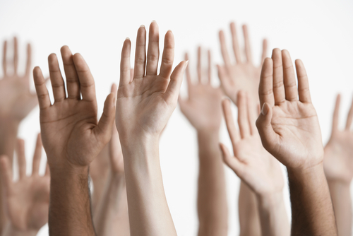 Raised hands of volunteers
