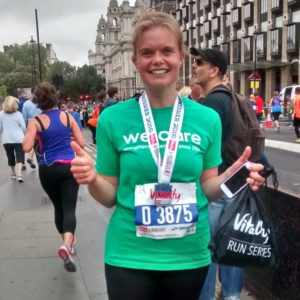Catharine finishing British 10k Run